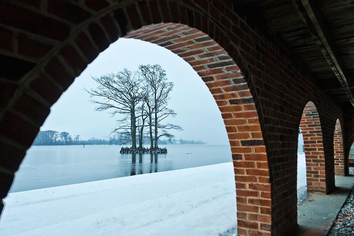 Edenton Bay from under the Penelope Barker House Welcome Center