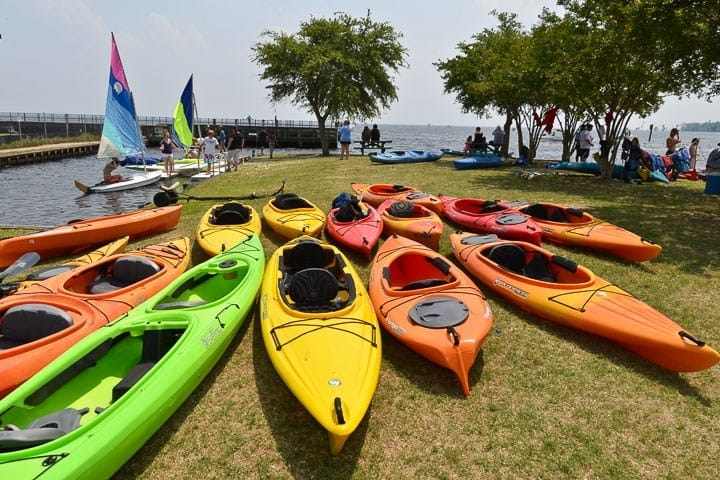 Kayaks at the waterfront, Edenton, North Carolina (Photo by Kip Shaw)